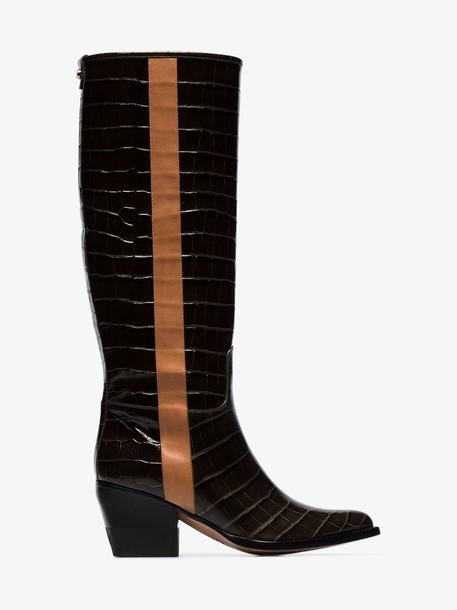 Chloé Chloé coffee brown 60 knee high leather boots