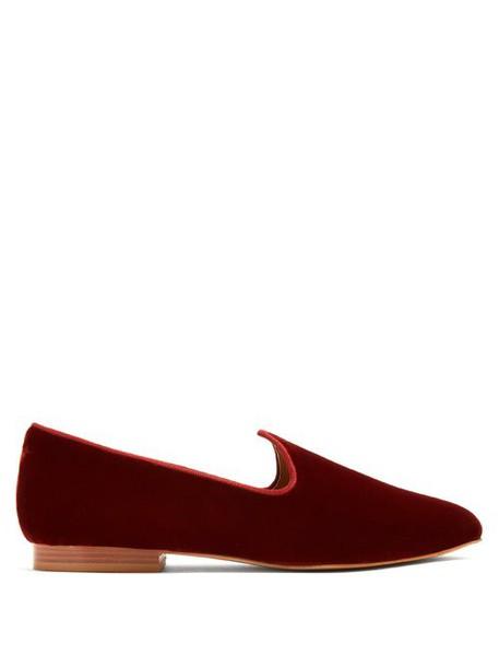Le Monde Beryl - Venetian Velvet Slipper Shoes - Womens - Dark Red