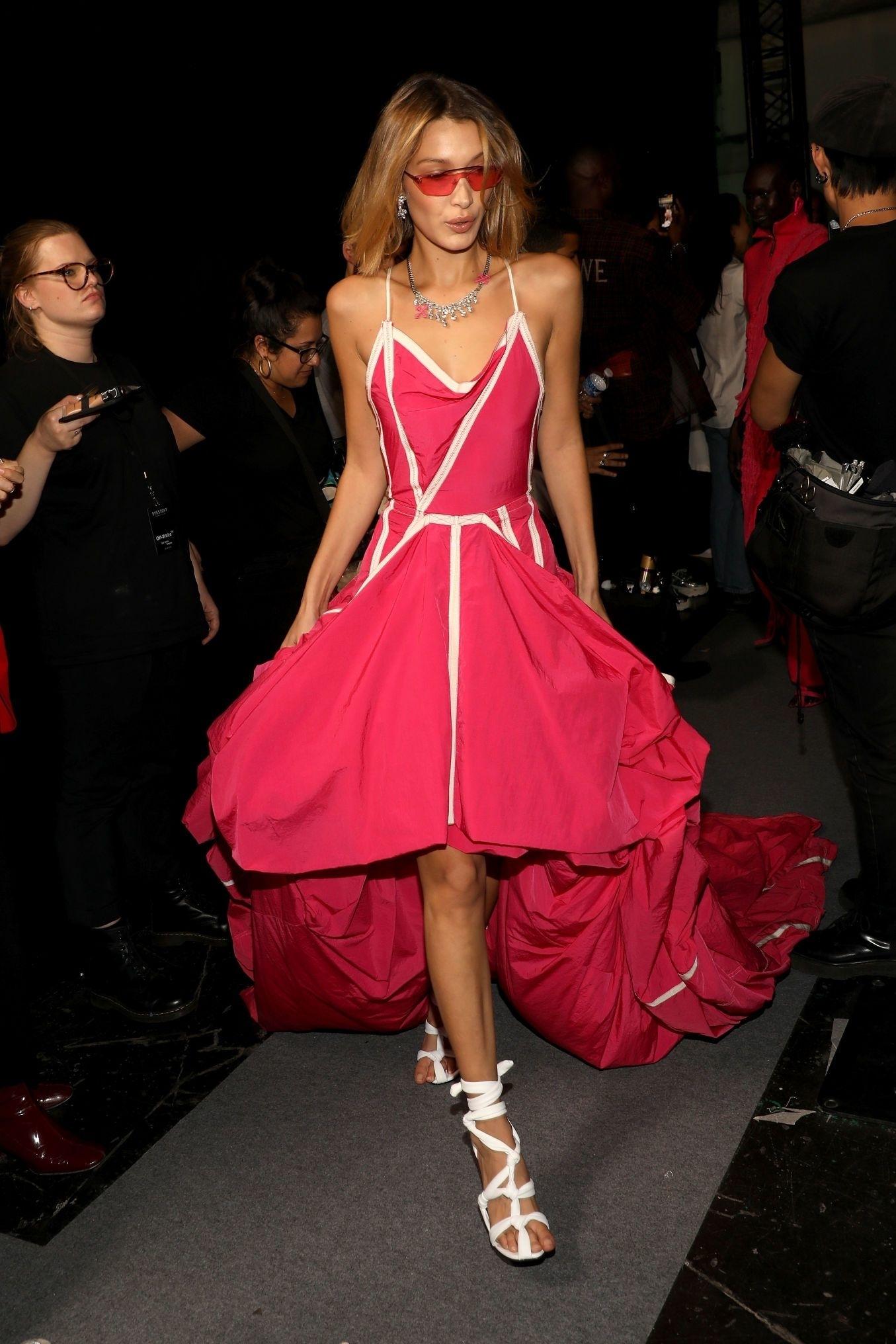 dress pink pink dress bella hadid model runway celebrity fashion week