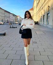 shoes,white boots,knee high boots,black skirt,mini skirt,white sweater,black bag