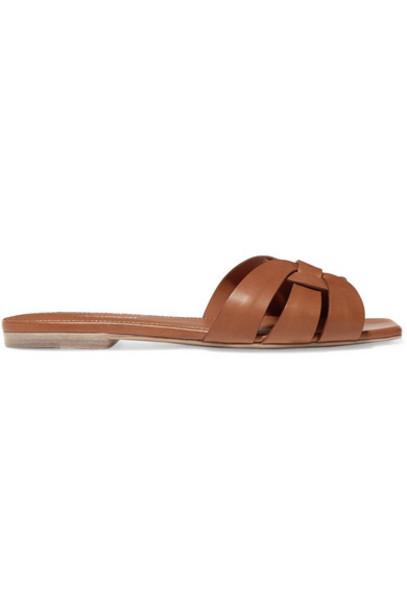 Saint Laurent - Nu Pieds Woven Leather Slides - Brown