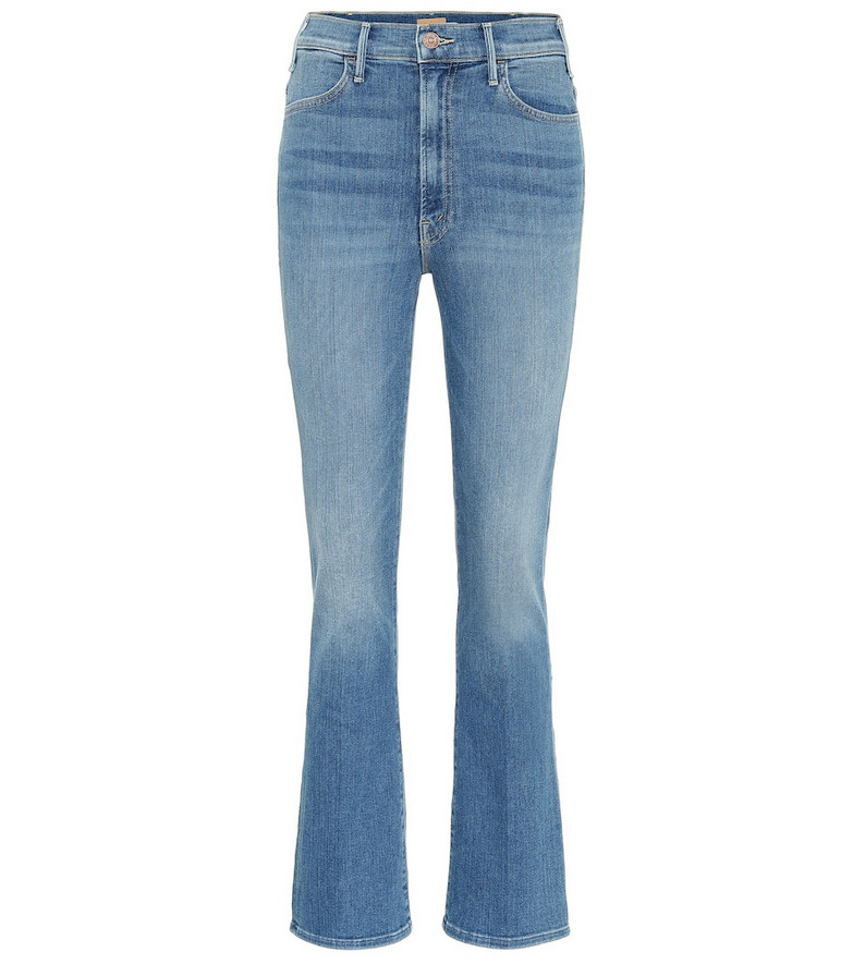 Mother The Hustler cropped high-rise jeans in blue