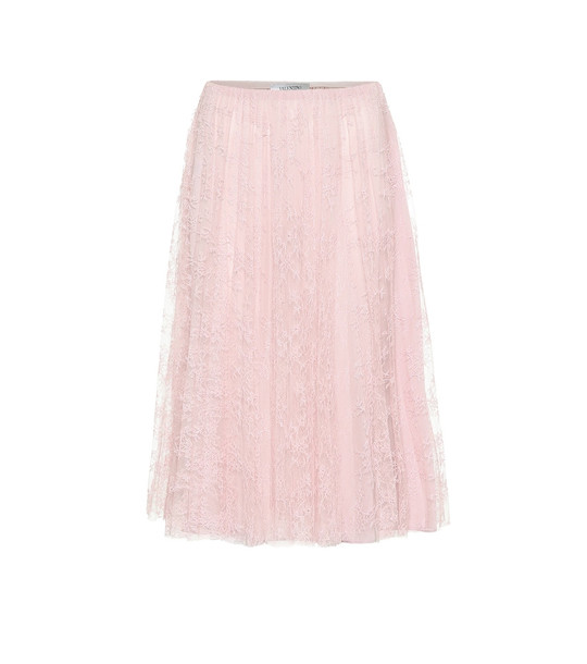 Valentino Chantilly lace midi skirt in pink