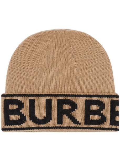Burberry logo intarsia beanie in neutrals