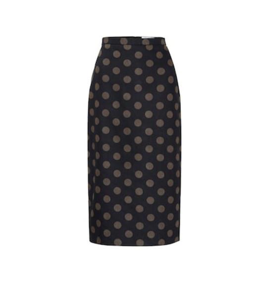 Max Mara Vata polka-dot cotton pencil skirt in blue