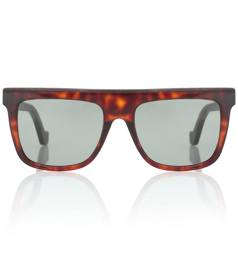 Loewe Leather-trimmed acetate sunglasses in brown