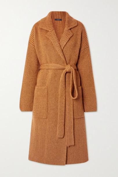 Joseph - Belted Ribbed Wool-blend Cardigan - Camel