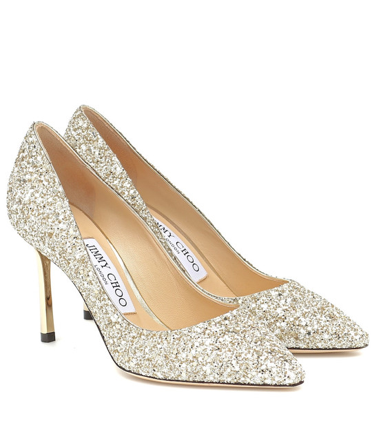Jimmy Choo Romy 85 glitter pumps in metallic