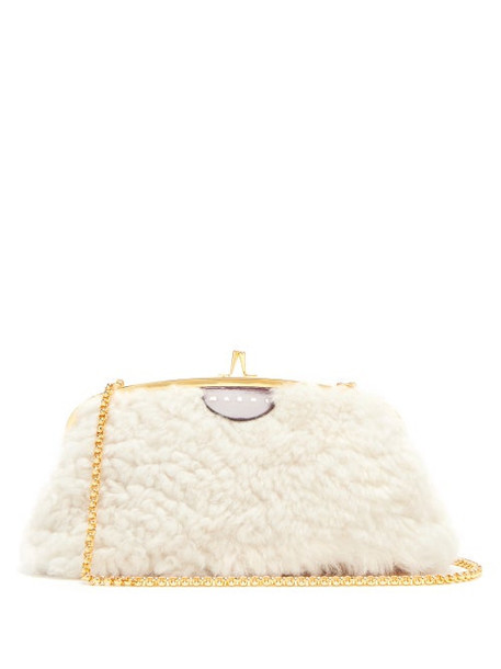 Marni - Cindy Shearling And Leather Cross-body Bag - Womens - White Multi