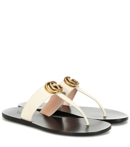 Gucci Double G leather sandals in white