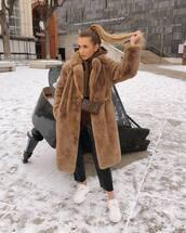bag,louis vuitton bag,brown bag,mini bag,white sneakers,black leather pants,straight pants,faux fur coat,brown coat,hoodie