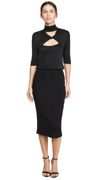 Cushnie Mock Neck Knit Dress in black
