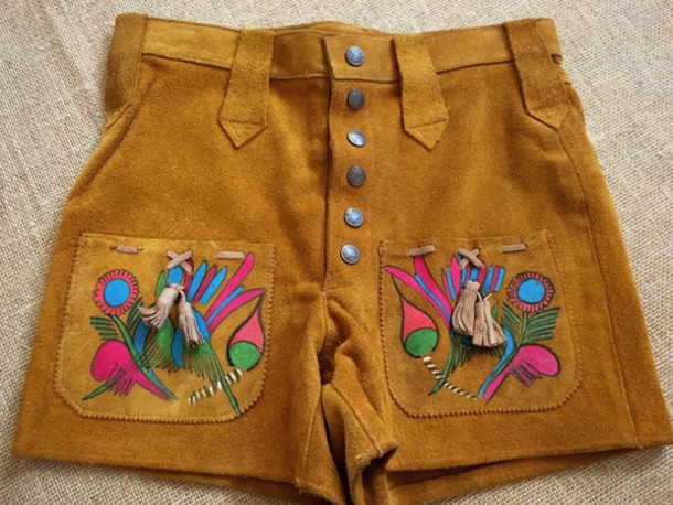 shorts embroidered festival buttons camel