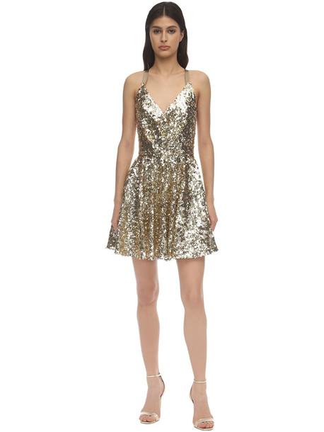 DOLCE & GABBANA Sequined Cross Back Flared Mini Skirt in gold