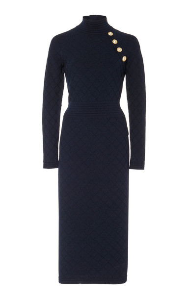 Balmain Diamond Knit Sweater Dress Size: 42 in blue