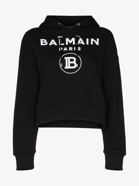 Balmain BALM LS TOP HDY CRPPD W LOG FRNT in black