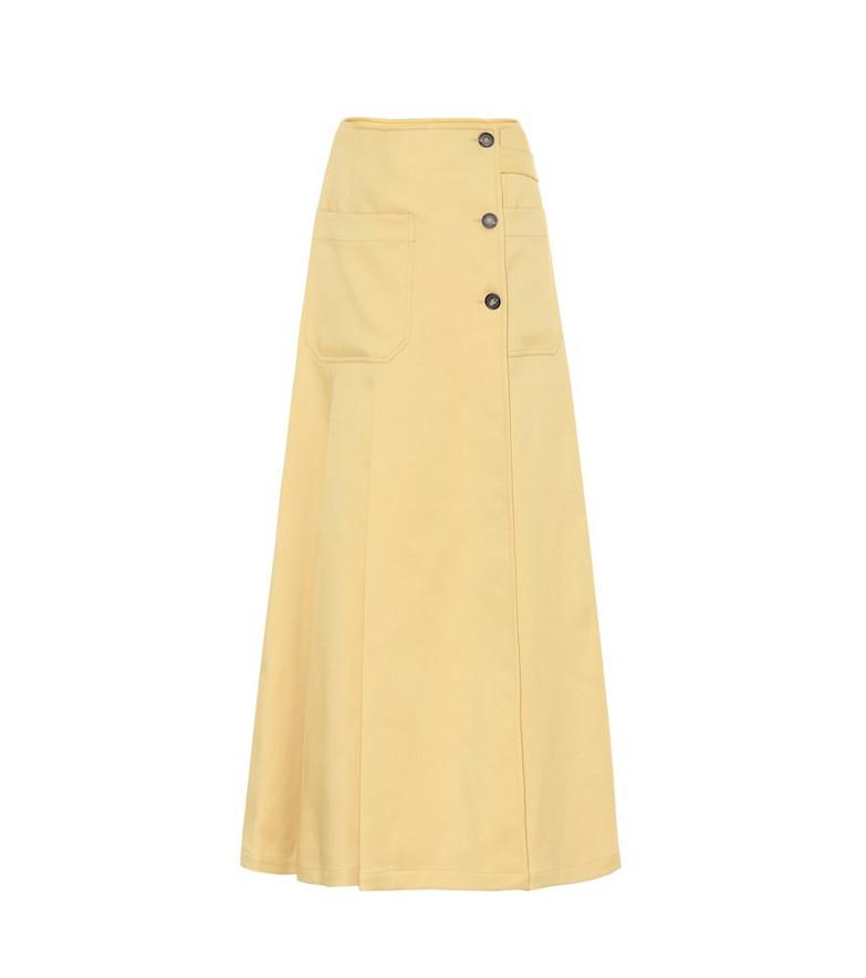 Plan C Twill maxi skirt in yellow