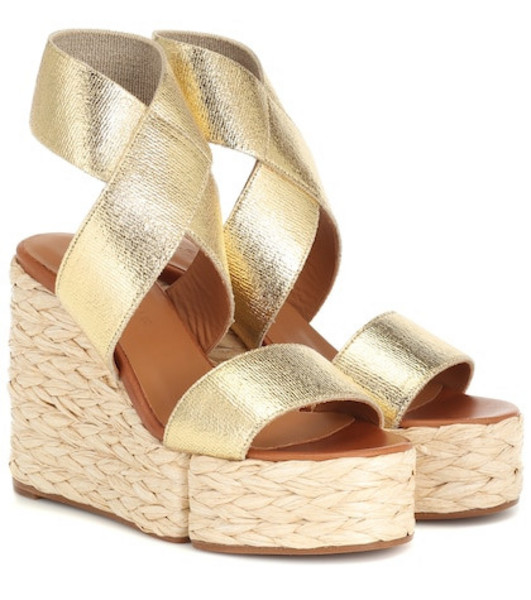 Clergerie Aurore leather wedge sandals in gold