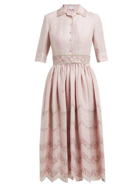 Luisa Beccaria - Floral Embroidered Linen Blend Shirtdress - Womens - Pink Multi