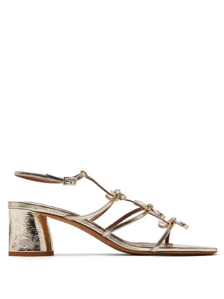 Tabitha Simmons - Covie Bow-embellished Metallic-leather Sandals - Womens - Light Gold