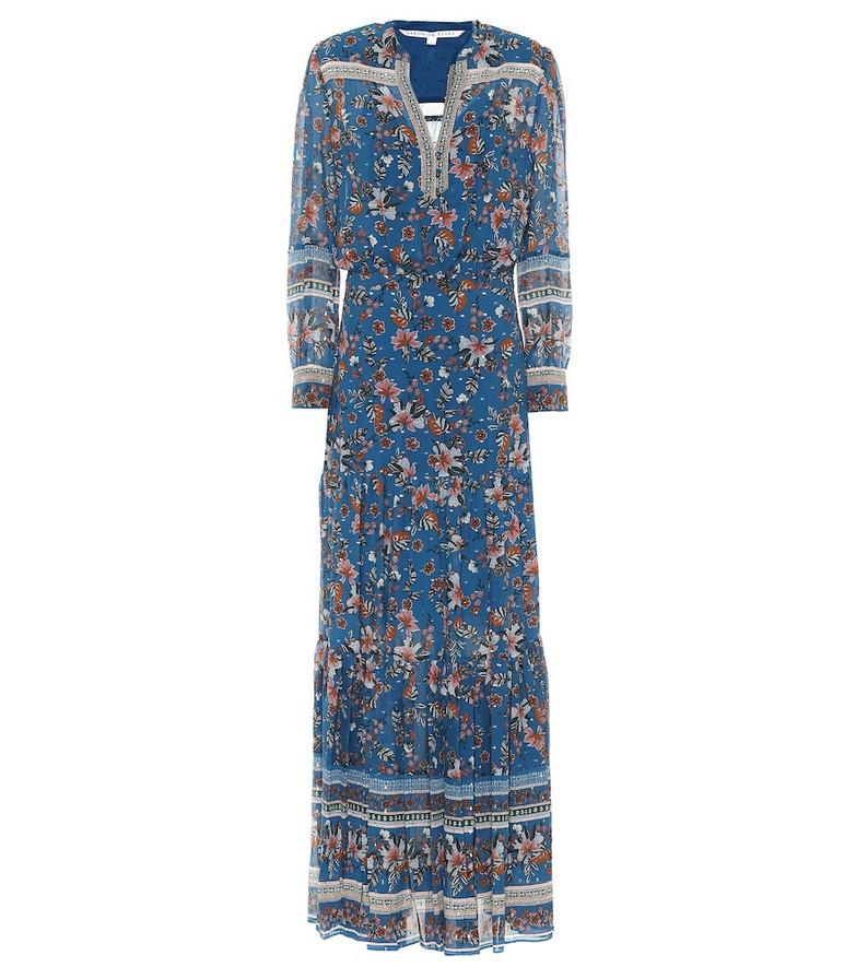 Veronica Beard Sama floral silk fil coupé maxi dress in blue