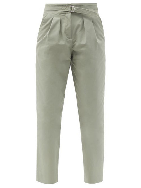 A.P.C. A.P.C. - Sarah Belted Cotton-blend Gabardine Trousers - Womens - Green