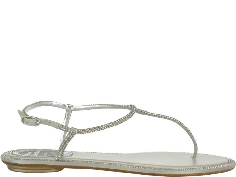 René Caovilla Diana Thong Sandals in silver
