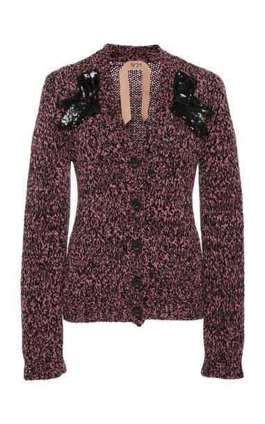 N°21 Casta Sequined-Trim Cardigan in pink