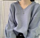 sweater,korean fashion,blue