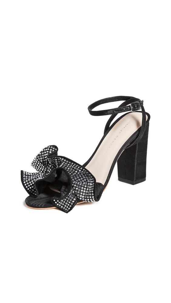 Loeffler Randall Savannah Ruffle Heel Sandals in black