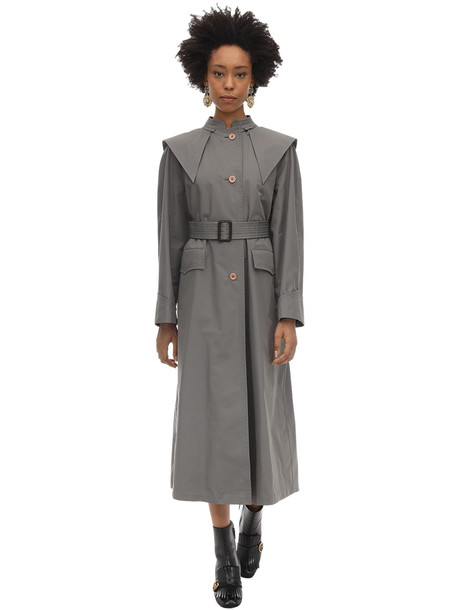 GUCCI Oversize Cotton Blend Trench Coat in grey