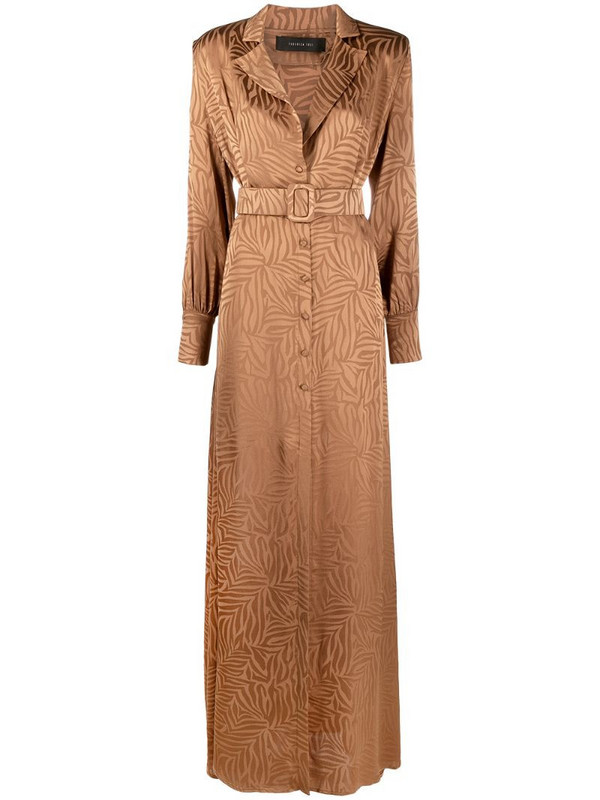 Federica Tosi abstract-print belted maxi dress in brown