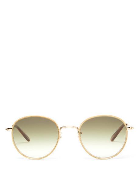 Garrett Leight - Paloma Round Stainless-steel Sunglasses - Womens - Green Gold
