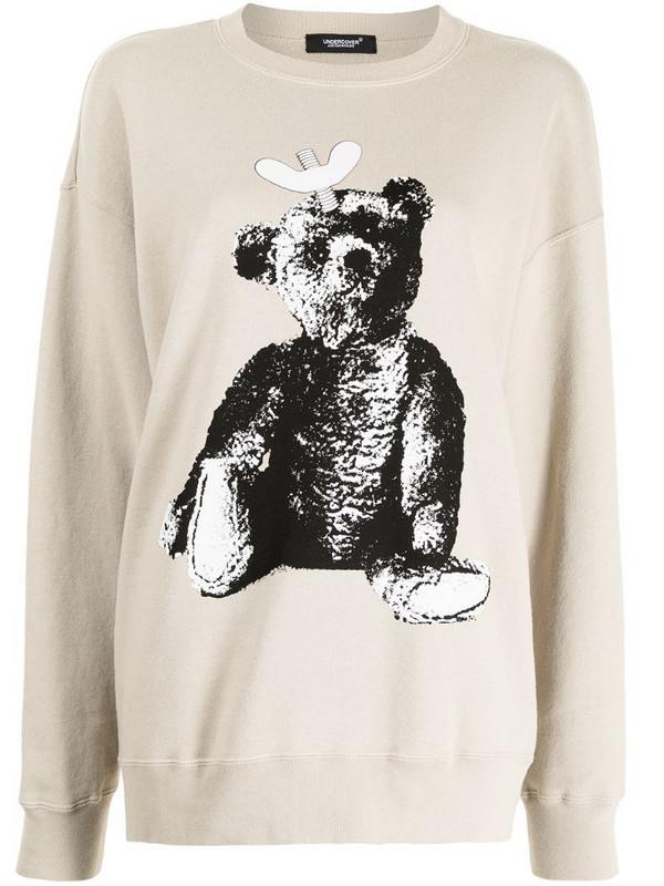 Undercover toy-print cotton sweatshirt in brown