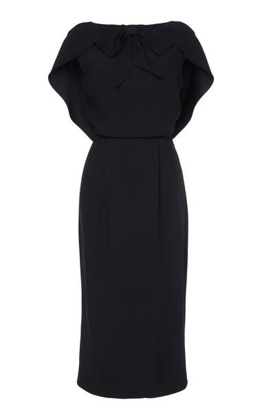 Prada Cape-Effect Crepe Midi Dress Size: 38 in black