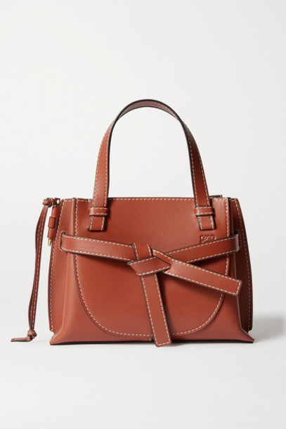 Loewe - Gate Mini Topstitched Leather Tote - Brown
