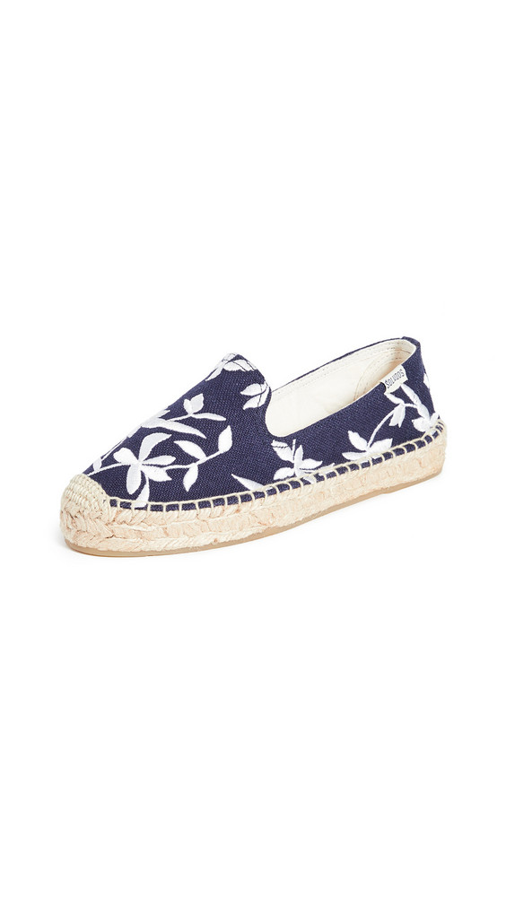 Soludos Shiloh Embroidered Espadrilles in blue