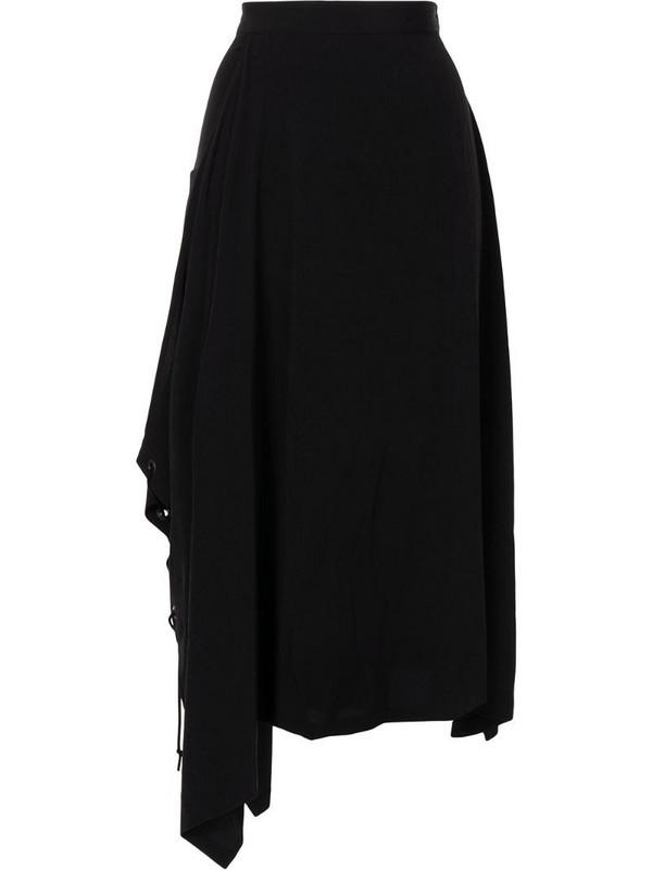 Y's asymmetric draped skirt in black
