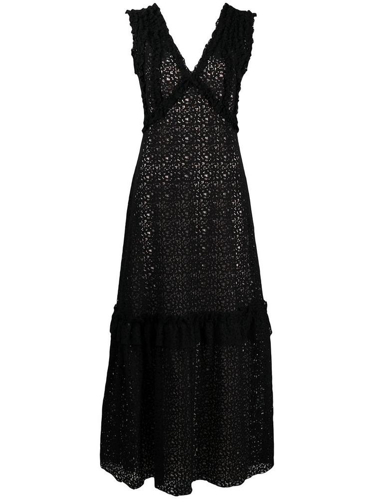 P.A.R.O.S.H. P.A.R.O.S.H. floral embroidery long dress - Black