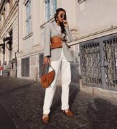 jacket,grey blazer,pumps,white pants,straight pants,high waisted pants,brown bag,dior bag,belt,white top