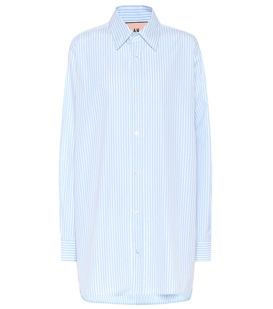 Plan C Striped cotton shirt in blue