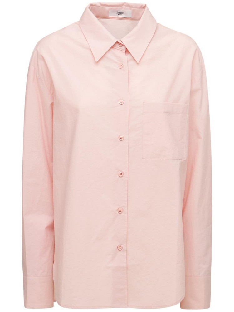 THE FRANKIE SHOP Lui Organic Cotton Poplin Shirt in pink