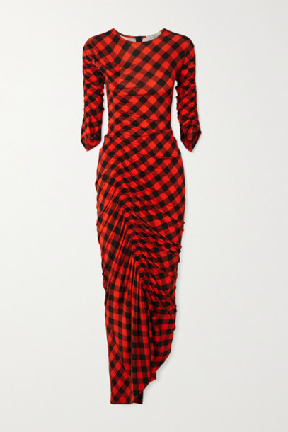 Preen by Thornton Bregazzi - Asymmetric Ruched Gingham Stretch-crepe Dress - Red