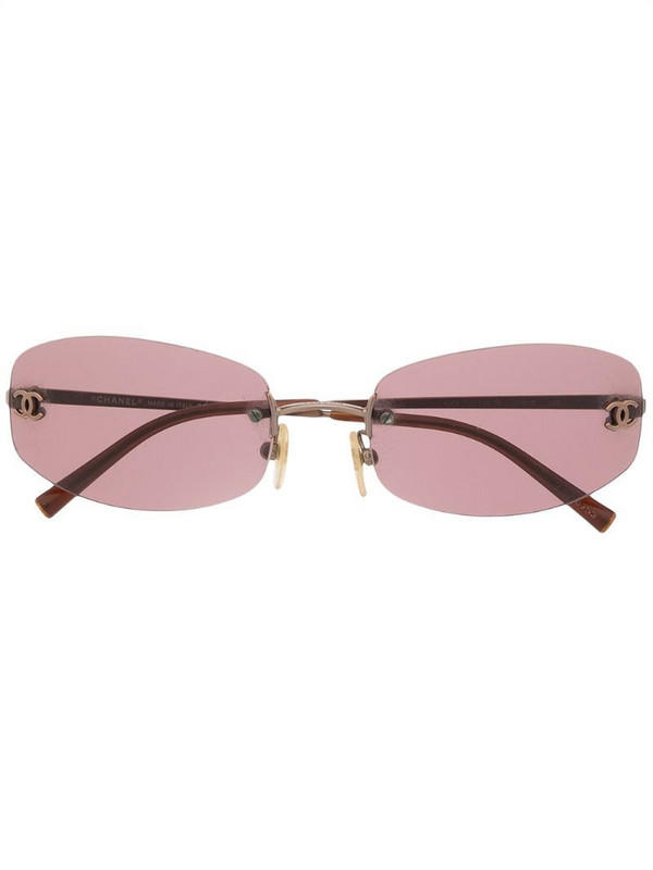 Chanel Pre-Owned CC rimless rectangular-frame sunglasses in brown