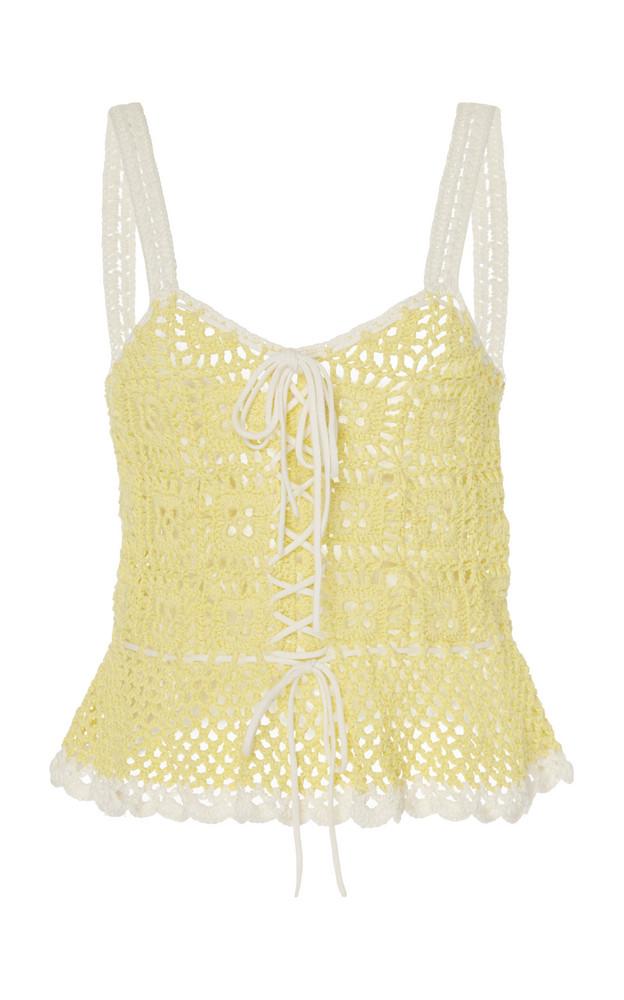 Staud Shrimp Crocheted Cotton Top in yellow