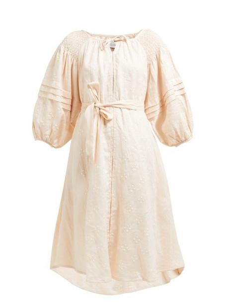 Innika Choo - Shirred Polka Dot Linen Midi Dress - Womens - Pink