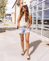 shorts,denim shorts,platform shoes,white top,tank top,shoulder bag,summer outfits,streetstyle