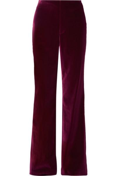 Alice + Olivia Alice Olivia - Dylan Velvet Wide-leg Pants - Purple
