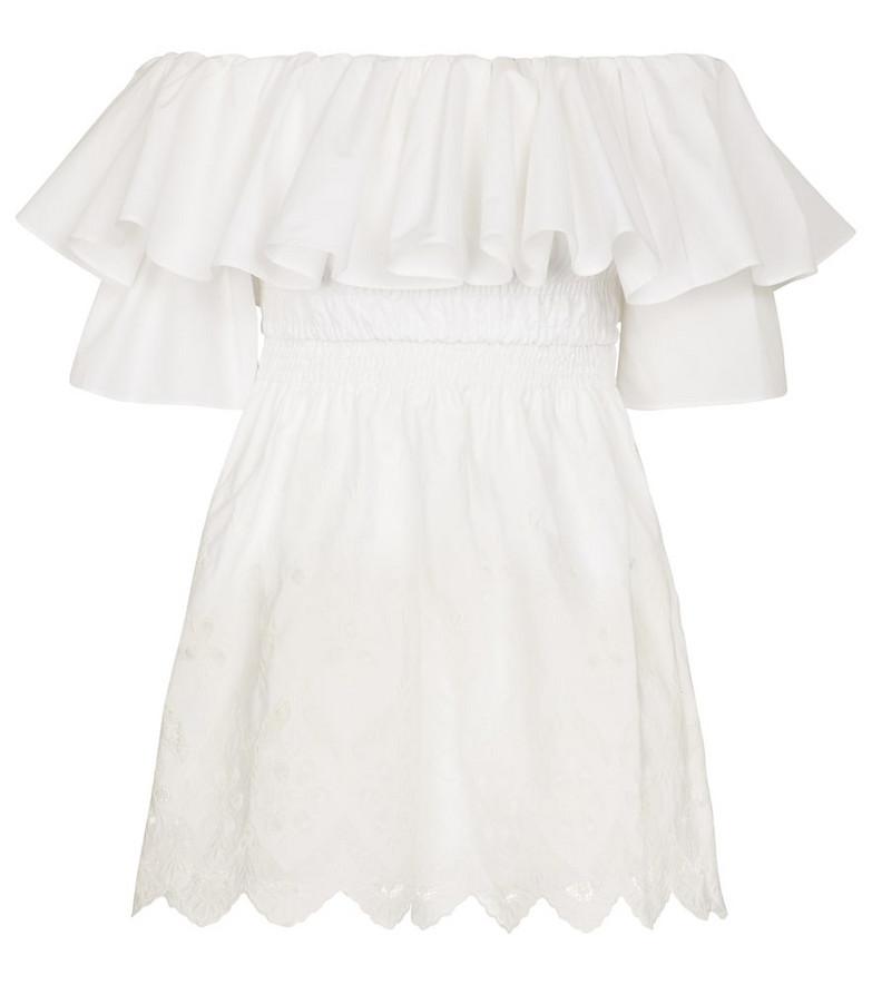 Self-Portrait Embroidered cotton minidress in white