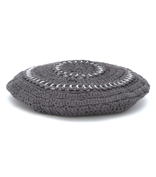 Ganni Cotton knit beret in grey